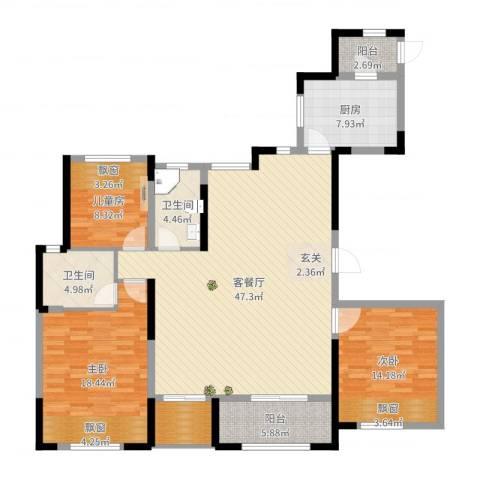 奥体新城3室2厅2卫1厨147.00㎡户型图