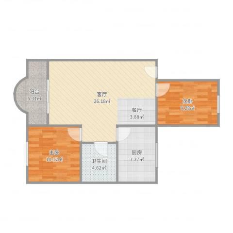云顶花园2室2室1厅1卫1厨78.00㎡户型图