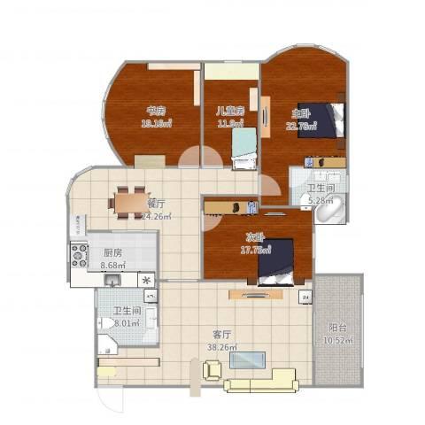 锦园小区4室2厅2卫1厨187.00㎡户型图