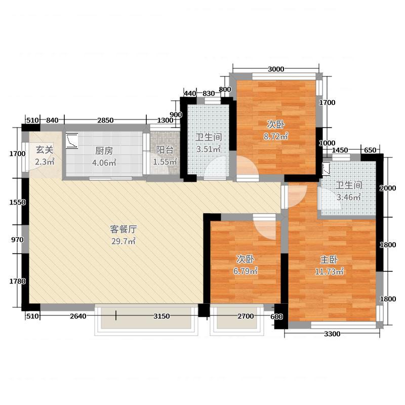 戛纳湾金棕榈95.00㎡戛纳里城13栋户型3室3厅2卫1厨