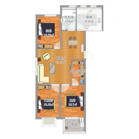 银枫家园3室2厅1卫1厨96.00㎡户型图