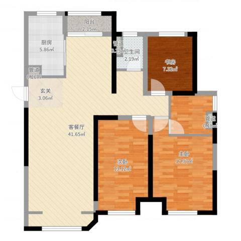 金地艺华年3室2厅1卫1厨114.00㎡户型图
