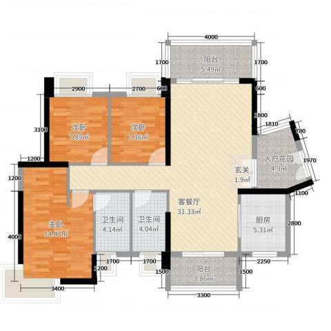 丽丰棕榈彩虹3室2厅2卫1厨117.00㎡户型图