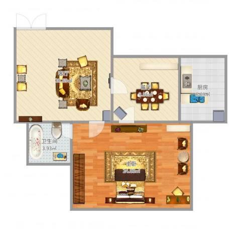向东岛花园1室2厅1卫1厨82.00㎡户型图