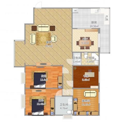 枫林.和平花园3室2厅3卫1厨155.00㎡户型图