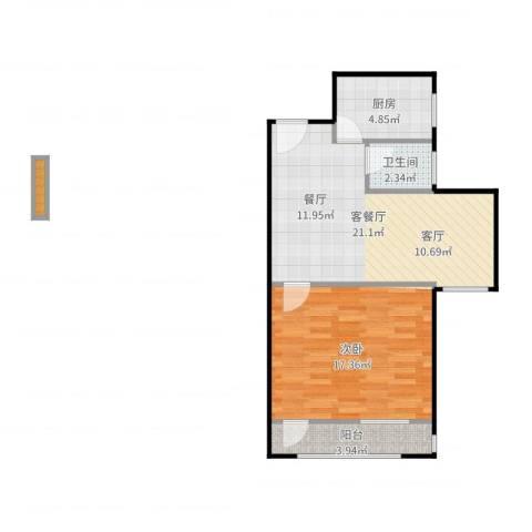 牡丹园东里1室2厅1卫1厨50.03㎡户型图
