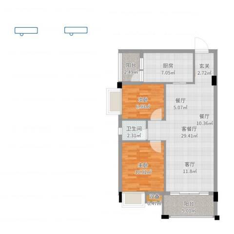 天盛花园2室2厅1卫1厨80.00㎡户型图