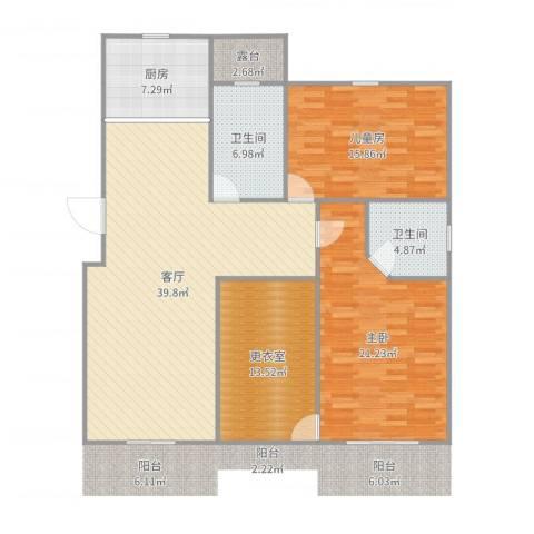 横店翡翠苑2室1厅2卫1厨140.00㎡户型图