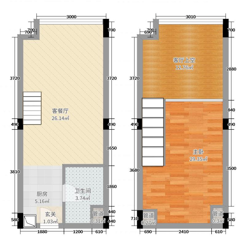 合景天峻43.00㎡C9栋户型1室1厅1卫1厨