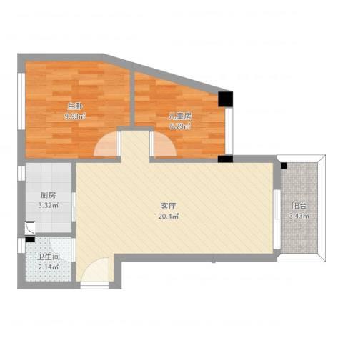 华颖花园2室1厅1卫1厨57.00㎡户型图