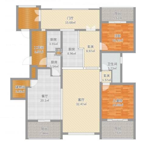 藏珑2室2厅1卫3厨208.00㎡户型图