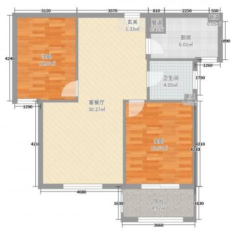 华都・金色兰庭2室2厅1卫1厨89.00㎡户型图