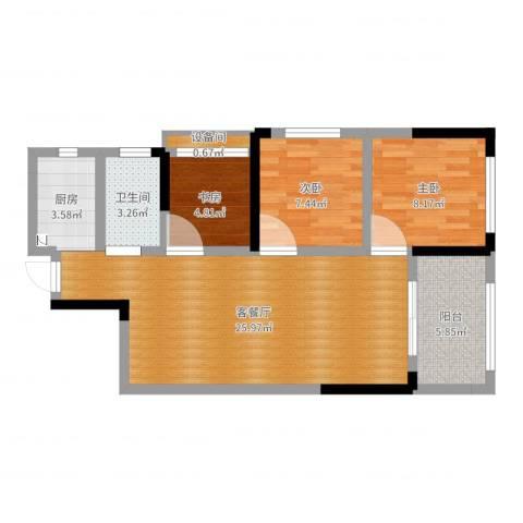 佛奥康桥水岸3室2厅1卫1厨75.00㎡户型图