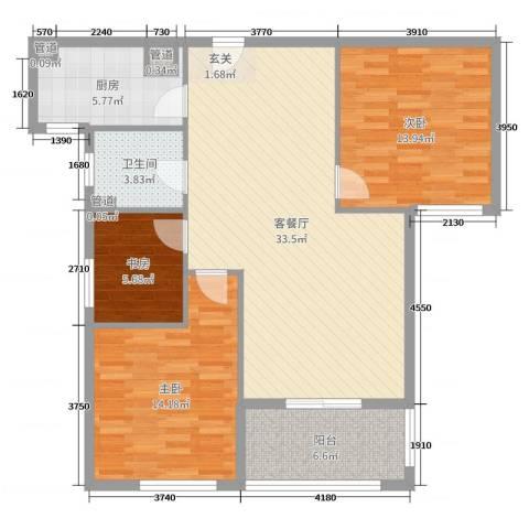 华都・金色兰庭3室2厅1卫1厨105.00㎡户型图