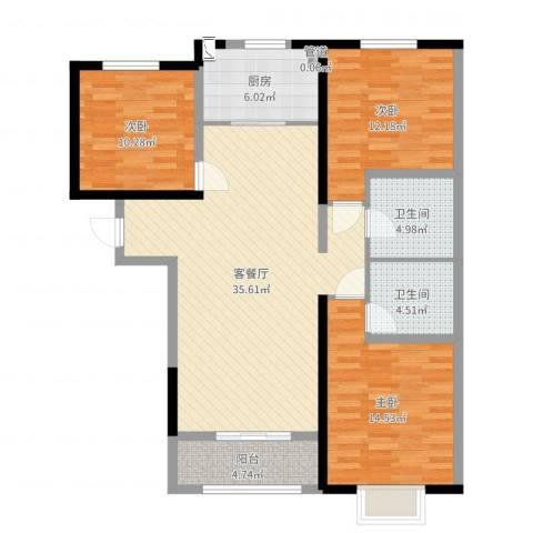京润现代城3室2厅2卫1厨116.00㎡户型图