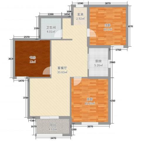 华都・金色兰庭3室2厅1卫1厨110.00㎡户型图