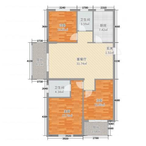 华都・金色兰庭3室2厅2卫1厨123.00㎡户型图