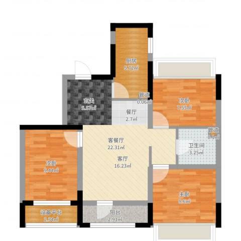 郡原小石城3室2厅1卫1厨78.00㎡户型图