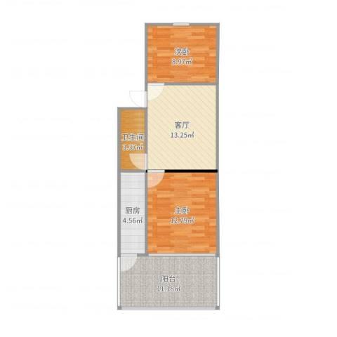 东幸福街2室1厅1卫1厨68.00㎡户型图