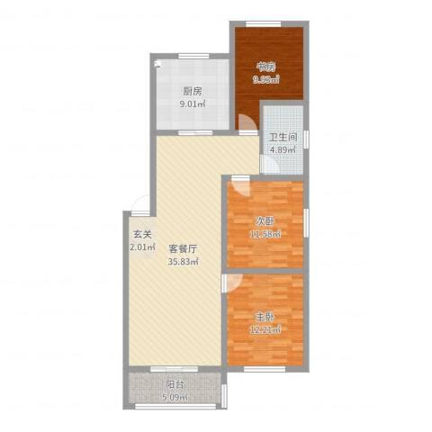 一品名郡3室2厅1卫1厨111.00㎡户型图