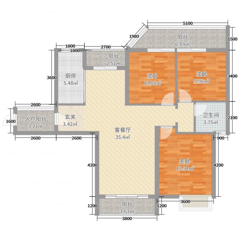 鸿瑞熙龙湾109.30㎡37#GB1户型3室3厅1卫1厨