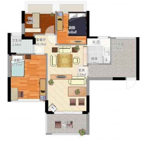 碧水龙庭3室2厅1卫1厨90.00㎡户型图