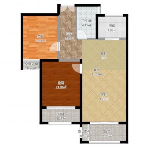 中盛星·河湾2室1厅1卫1厨87.00㎡户型图