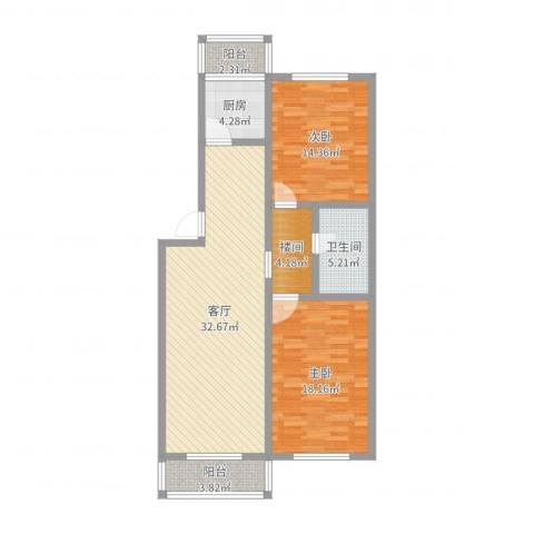 五一家园2室1厅1卫1厨106.00㎡户型图