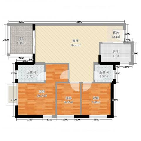 万科金域缇香3室1厅2卫1厨85.00㎡户型图