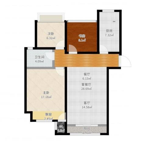 印象欧洲3室2厅1卫1厨94.00㎡户型图