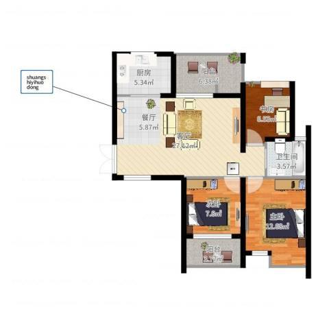 上东领地3室1厅1卫1厨91.00㎡户型图