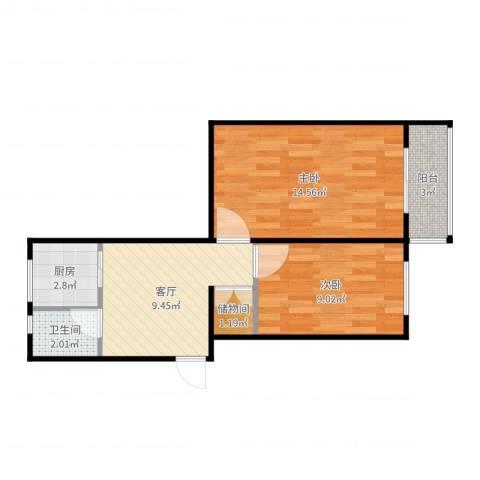 西安街甲2号院2室1厅1卫1厨53.00㎡户型图