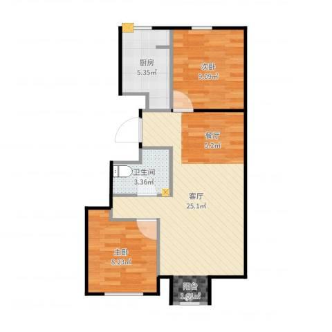 新源时代2室1厅1卫1厨64.00㎡户型图