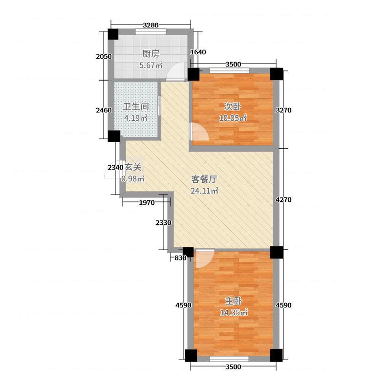 盛世隆城72.72㎡C户型2室2厅1卫1厨