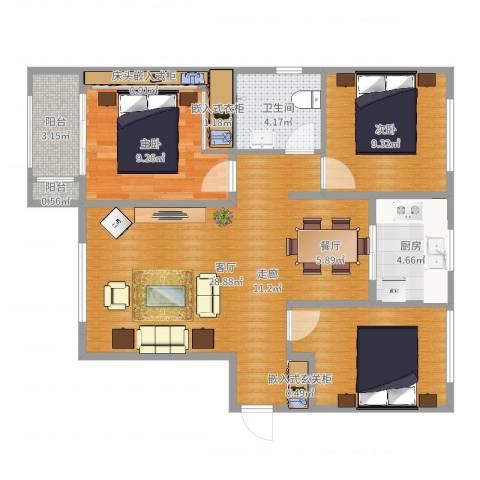 乐豪斯-致臻园三室两厅HS0092室1厅1卫1厨90.00㎡户型图