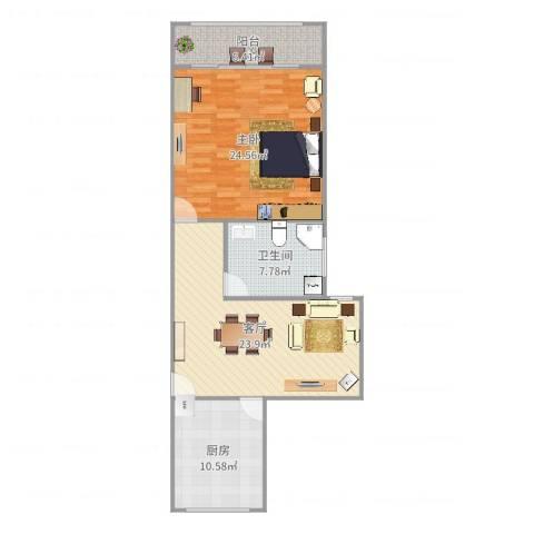 水电路1381弄小区1室1厅1卫1厨92.00㎡户型图