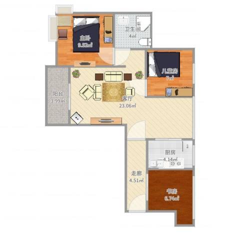 保利叶上海3室1厅1卫1厨79.00㎡户型图