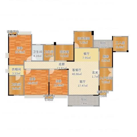 世纪城玫瑰公馆3室2厅3卫1厨183.00㎡户型图