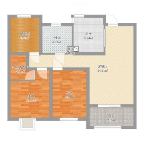 牡丹领秀汇2室2厅1卫1厨89.00㎡户型图