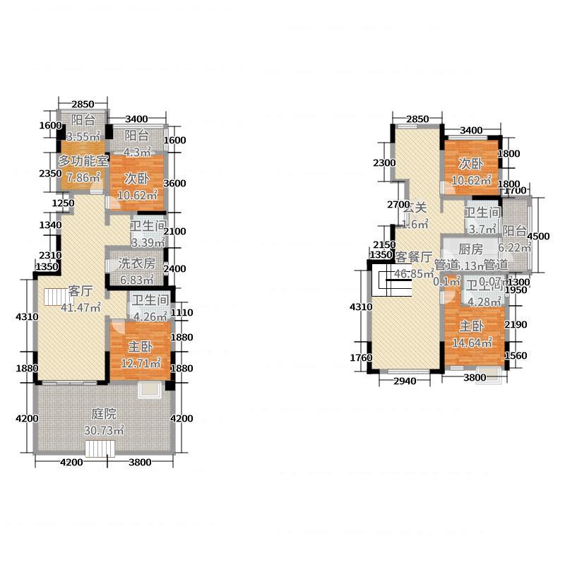 皇冠国际188.49㎡2、5、6、7、8栋底跃A2-1至1层户型5室5厅4卫1厨