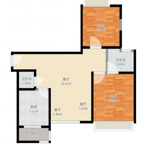 唐品A+2室1厅2卫1厨64.40㎡户型图