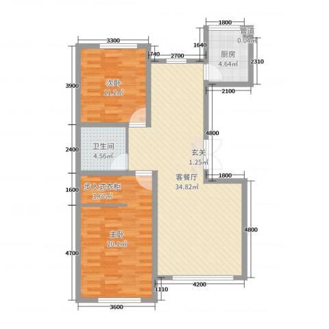 汉森香榭里2室2厅1卫1厨110.00㎡户型图