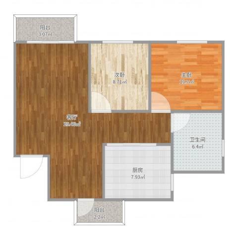 城市印象家园7110592室1厅1卫1厨86.00㎡户型图