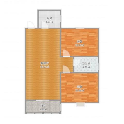 丰盛园2室2厅1卫1厨94.00㎡户型图