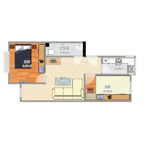 游泳场北路9号院2室1厅1卫1厨52.00㎡户型图