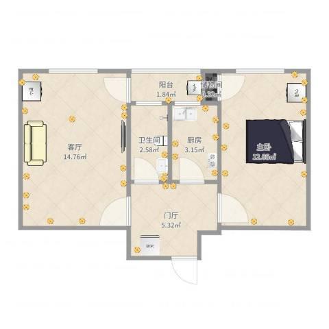 长椿里1室1厅1卫1厨50.00㎡户型图