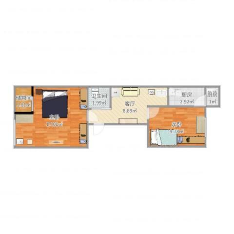 长椿街东里2室1厅1卫2厨54.00㎡户型图