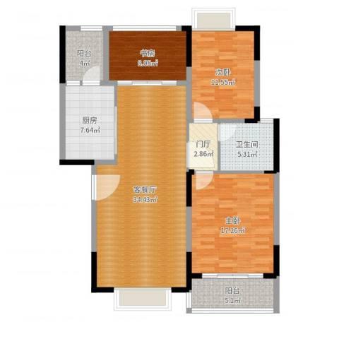 万达西双版纳国际度假区3室2厅1卫1厨120.00㎡户型图