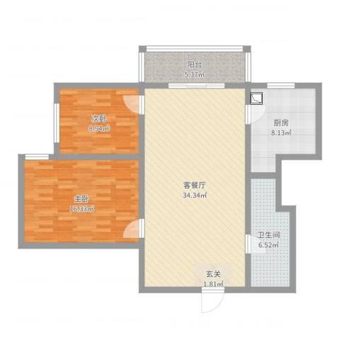 太原文兴苑2室2厅1卫1厨79.62㎡户型图