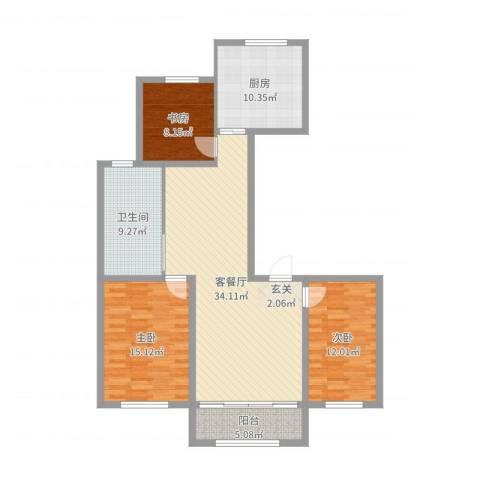 华夏山海城向阳花园3室2厅1卫1厨118.00㎡户型图